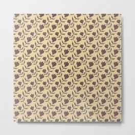 Elegant classy distressed dark brown rose flowers pattern design. Retro vintage creamy beige floral Metal Print