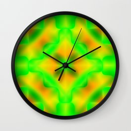Bright pattern of blurry yellow and green flowers in a vintage kaleidoscope. Wall Clock