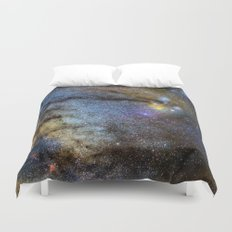 The Milky Way and constellations Scorpius, Sagittarius and the super big red star Antares. Duvet Cover