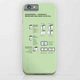 Buchbinden – Merkmale Broschur und Buch im Detail (in German) iPhone Case