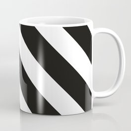 CVS0096 Black and White wide slanted angled stripes Coffee Mug