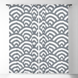 Cool Grey Japanese Waves Pattern Blackout Curtain