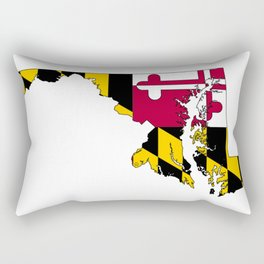 Map of Maryland with Maryland State Flag Rectangular Pillow