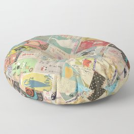 Vintage Japanese matchbox collage Floor Pillow