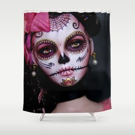 Mexican Hibiscus Day of the Dead Skull Shower Curtain