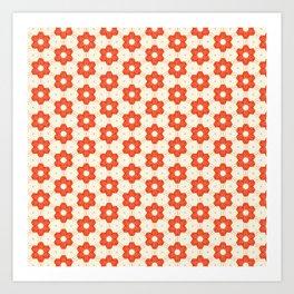 Retro Red Flower Art Print