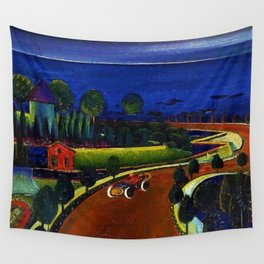 Coastal drive along the blue bay and harbor landscape wall painting by Preston Dickinson Wall Tapestry
