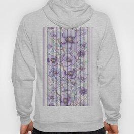 Watercolor purple lavender lilac floral stripes Hoody