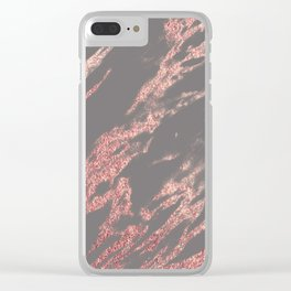 Charcoal rose gold Clear iPhone Case