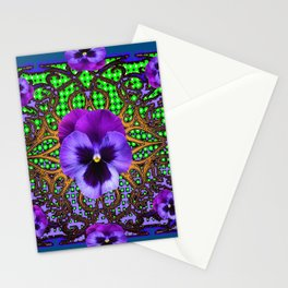 DECORATIVE PURPLE PANSIES TEAL ART Stationery Cards