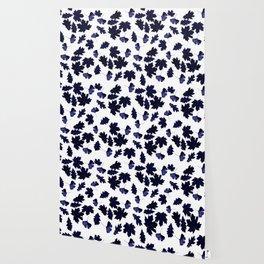 Indigo Blue Sun-Dyed Leaves Wallpaper