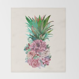Floral Pineapple Throw Blanket