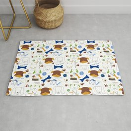 Good Doggie Hand-Drawn Cartoon Dog Print on White Rug