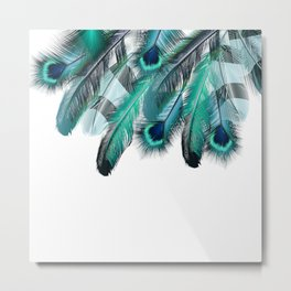 Peacock Feathers Aqua Blue Metal Print