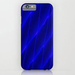 Slanting repetitive lines and rhombuses on luminous blue with intersection of glare. iPhone Case