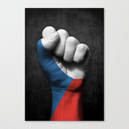 Czech Flag on a Raised Clenched Fist Canvas Print