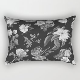 Vintage flowers on black Rectangular Pillow