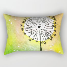 Watercolor Dandelion - Make a wish Rectangular Pillow