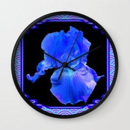 Blue-Lavender Iris Art Nouveau Pattern Art Wall Clock