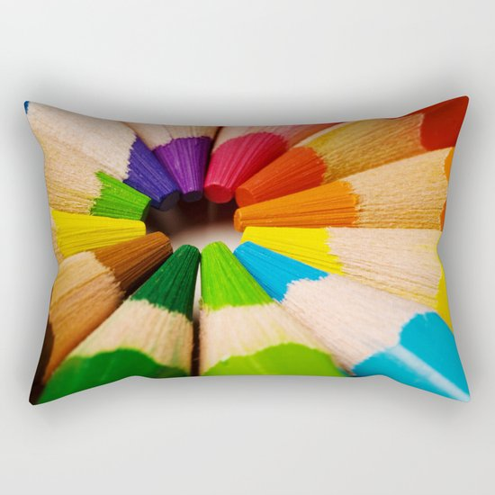 Colorful Pencils Rectangular Pillow