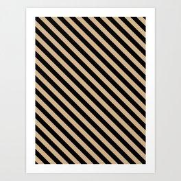 Tan Brown and Black Diagonal LTR Stripes Art Print