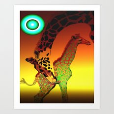 family giraffes Art Print