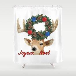 Joyeux noel - French Merry Christmas deer Shower Curtain