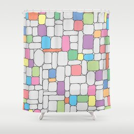 Pastel Stone Wall Shower Curtain