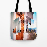 puerto rico Tote Bags featuring Carpe Diem in Puerto Rico by Forgotten Charm