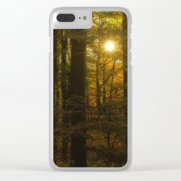 Sunset in the autumn forest Clear iPhone Case