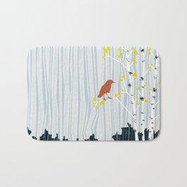 bird in birch Bath Mat