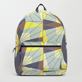 It's complicated. Bold geometric pattern in marsala, yellow and charcoal. Backpack