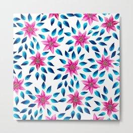 Bright Pink Blue Flowers Leaves Acrylic Paint Metal Print