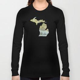 Ships Along the Shore - Michigan circa 1868 Long Sleeve T-shirt