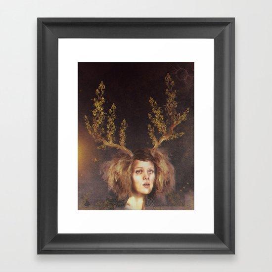 The Golden Antlers Framed Art Print