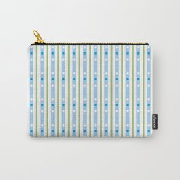 green and blue lines with squares Carry-All Pouch