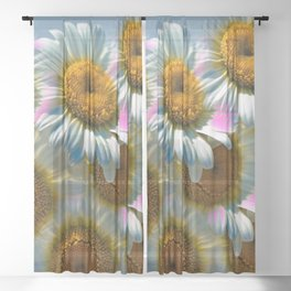 Colorful Daisies Sheer Curtain
