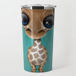 Cute Baby Giraffe Dj Wearing Headphones on Blue Travel Mug