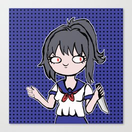Yandere-chan Holding A Knife (To Cut A Cake) Canvas Print