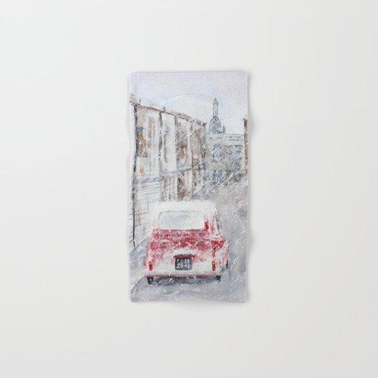Snowfall and little red car Hand & Bath Towel
