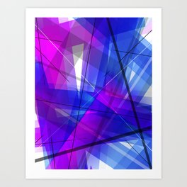 Transparent Shapes Blue and Pink Geometric Abstract Art Art Print