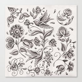 sparrows and swirls Canvas Print