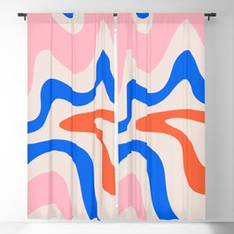 Retro Liquid Swirl Abstract Pattern Square Pink, Orange, and Royal Blue Blackout Curtain