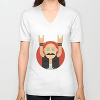 rock and roll V-neck T-shirts featuring Rock&Roll by Gerardo Lisanti