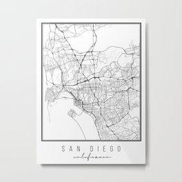 San Diego California Street Map Metal Print