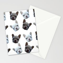 French Bulldog pattern (Black and White(No background)) Stationery Cards