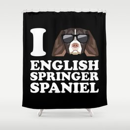 I Love English Springer Spaniel modern v2 Shower Curtain