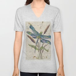 """""""""""Dragonflies and Cattails"""" Unisex V-Neck"""