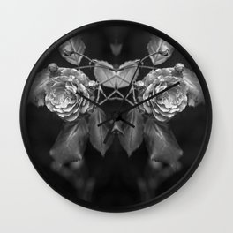 Mirroring black and white roses monochrome flowers Wall Clock