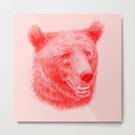 Brown bear is red and pink Metal Print